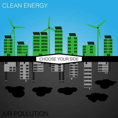 Clean Energy or Pollution  Choose Your Side    Vector