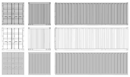 Shipping Container Vorderseite Rückseite Seitenansicht Vektorgrafik