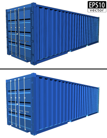 Realistic Shipping Container     イラスト・ベクター素材