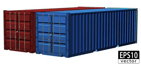 Realistic Shipping Containers     Illustration
