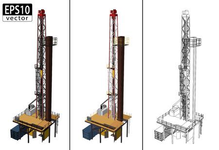3D Oil Drill      イラスト・ベクター素材