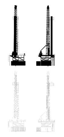 Olie Boren Silhouette Vector Illustratie