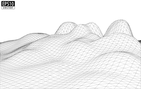 3D Wireframe Terrain  smooth    EPS10 Vector Illustration