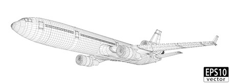 Plane Wireframe   EPS10 Vector