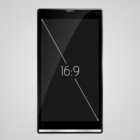 16 9: Smart Phone with 16 9 screen aspect ratio   EPS10 Vector