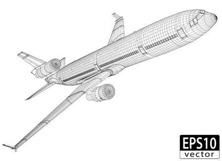 oorkonde: Vliegtuig Draadframe EPS10 Vector
