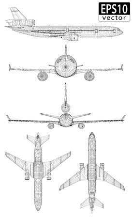 oorkonde: Vliegtuig Wireframes EPS10 Vector Stock Illustratie
