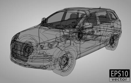 автомобили: Внедорожник каркасные EPS10 вектор Иллюстрация