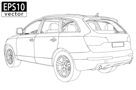 SUV Wireframe   EPS10 Vector Illustration
