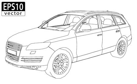 SUV Wireframe   EPS10 Vector  イラスト・ベクター素材