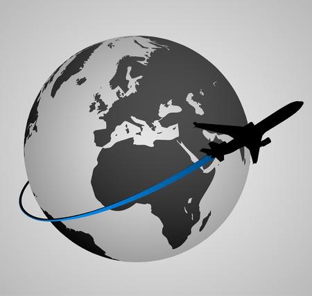 Airplane Around the World   EPS10 Vector Vettoriali