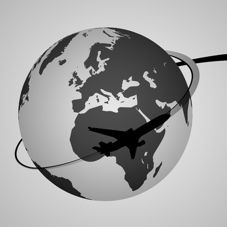 Airplane Around the World   EPS10 Vector Vector
