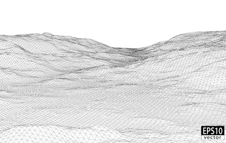 3D Wireframe Terrain   EPS10 Vector
