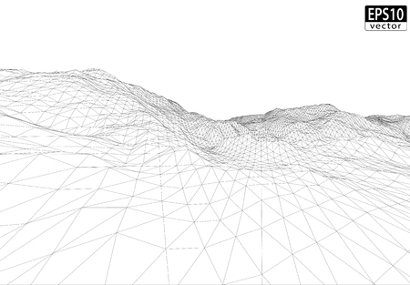 3D Wireframe Terrain  Wide Angle    EPS10 Vector Illustration