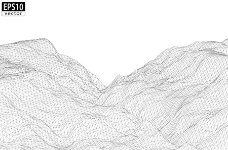 mountains and sky: 3D Wireframe Mountain   EPS10 Vector