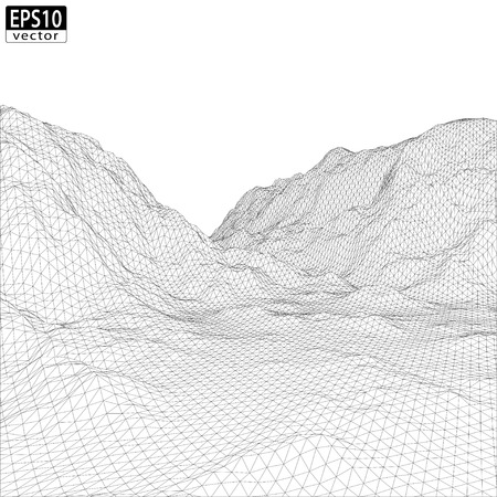 overlook: 3D Wireframe Mountain with valley   EPS10 Vector Illustration