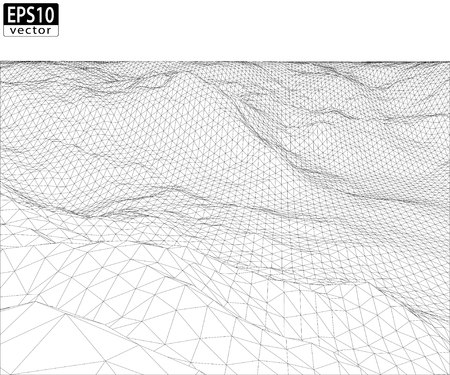 3D Wireframe Terrain with Straight Horizon  Wide Angle    EPS10 Vector