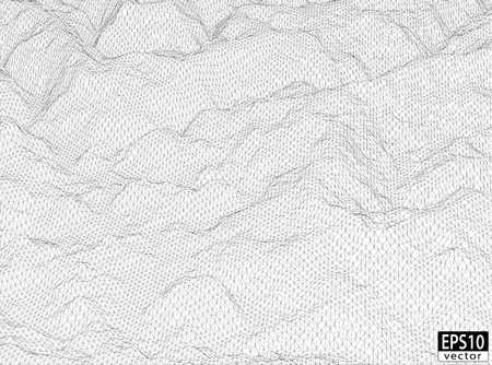 rural area: 3D Detailed Hill Wireframe   EPS10 Vector