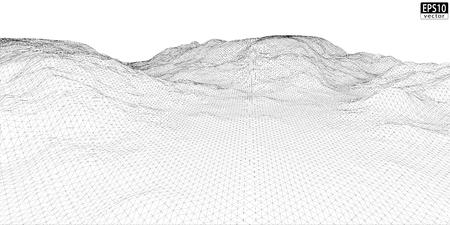 longitude: 3D Wireframe Terrain  Wide    EPS10 Vector