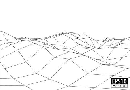 3D Wireframe Terrain  EPS10 Vector Иллюстрация