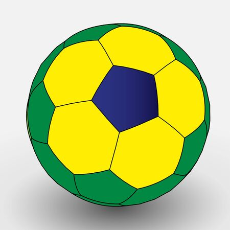 Flat Color Brazilian Soccer Ball  EPS10 Vector Иллюстрация