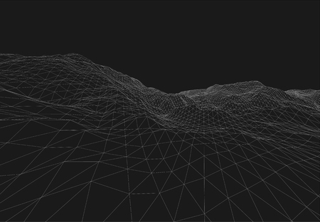 terrain: 3D Wireframe Terrain Wide Angle  EPS10 Vector Illustration