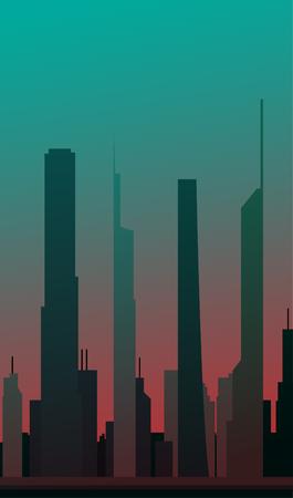 都市景観デザイン緑バージョン EPS10 ベクトル