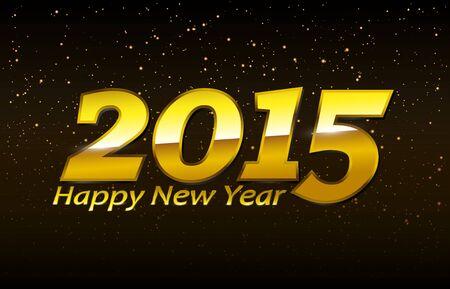 Golden Happy New Year 2015 Sign  EPS10 Vector Иллюстрация