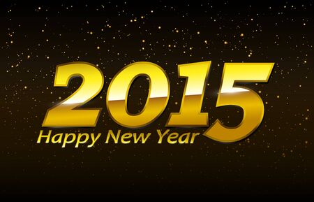 Golden Happy New Year 2015 Sign  EPS10 Vector Ilustração