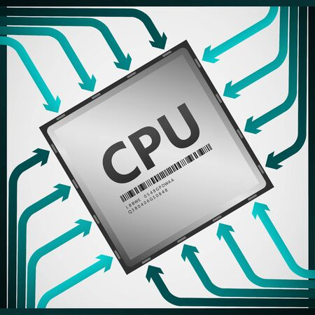 product signal: CPU Central Processing Unit  Vector Illustration