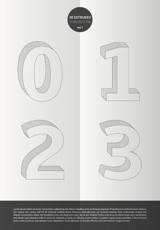 鮮やかな色とミニマルなデザイン EPS10 ベクトル セット 1 0 1 2 3 文字セットで表記のアルファベット