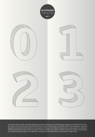 Typographic alphabet in a set with vibrant colors and minimal design  EPS10 Vector  Set 1  0 1 2 3 letters