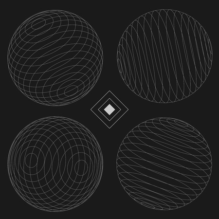 Decorative Sphere Elements Set 2 black  EPS10 Vector Иллюстрация