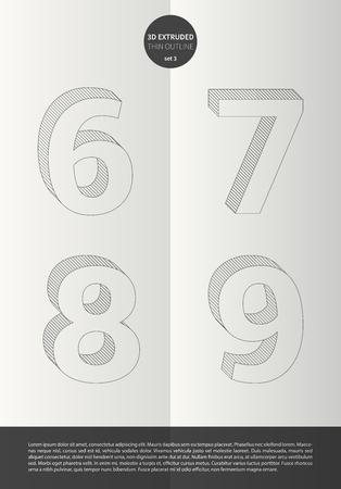 鮮やかな色とミニマルなデザイン EPS10 ベクトル セット 3 6 7 8 9 文字セットで表記のアルファベット
