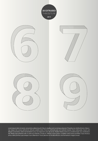 7 8: Typographic alphabet in a set with vibrant colors and minimal design  EPS10 Vector  Set 3  6 7 8 9 letters