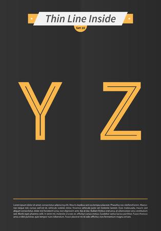 内側と最低限のラインとセットで表記のアルファベットを EPS10 ベクトル設定 10 Y Z までの英字をデザインします。