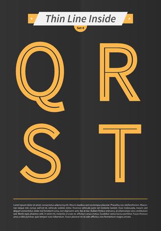内側と最低限のラインとセットで表記アルファベット デザイン EPS10 ベクトル設定 8 Q R S T 文字