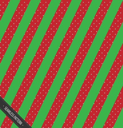 Seamless Winter Pettern Design. Red and Green Slating Lines with snow  EPS10 Vector