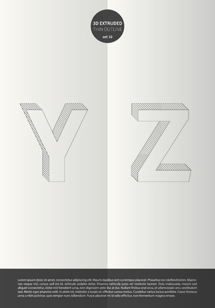 Typographic alphabet in a set with vibrant colors and minimal design  EPS10 Vector  Set 10  Y Z letters