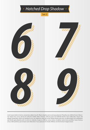 孵化したシャドウとミニマルなデザイン EPS10 ベクトル セット 3 6 7 8 9 文字セットで表記のアルファベット 写真素材 - 51755935