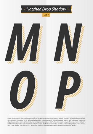 孵化したシャドウとミニマルなデザイン EPS10 ベクトル セット 7 M N O P 文字セットで表記のアルファベット