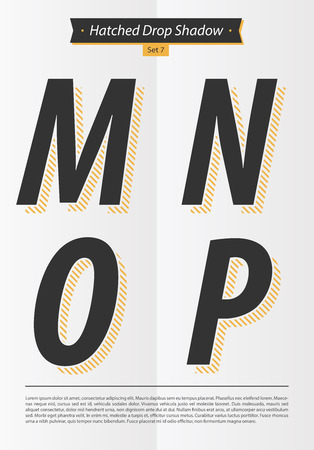 Typographic alphabet in a set with hatched shadow and minimal design  EPS10 Vector  Set 7  M N O P letters