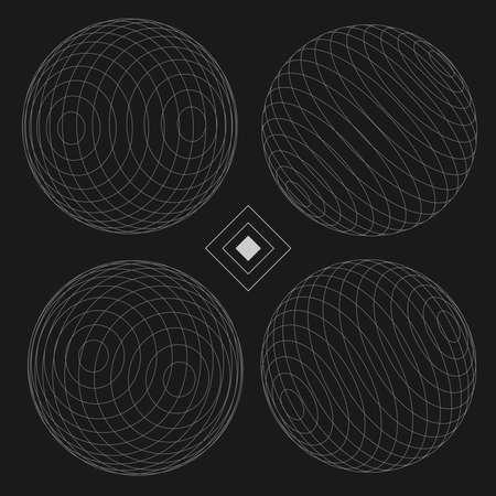 Decorative Sphere Elements Set 3 black  EPS10 Vector
