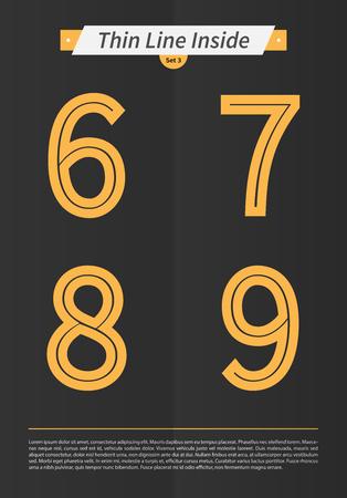 内側と最低限のラインとセットで表記アルファベット デザイン EPS10 ベクトル セット 3 6 7 8 9 文字