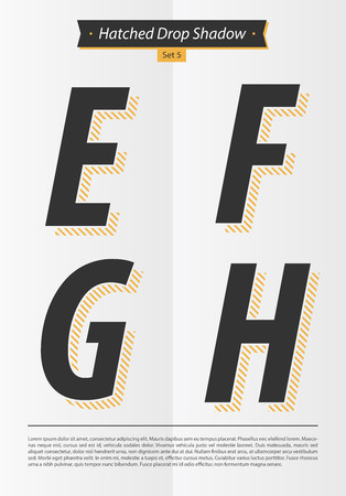 Typographic alphabet in a set with hatched shadow and minimal design  EPS10 Vector  Set 5  E F G H letters Иллюстрация