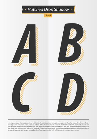 Typographic alphabet in a set with hatched shadow and minimal design  EPS10 Vector  Set 4  A B C D letters