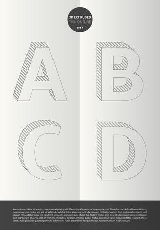 Typographic alphabet in a set with vibrant colors and minimal design  EPS10 Vector  Set 4  A B C D letters Иллюстрация