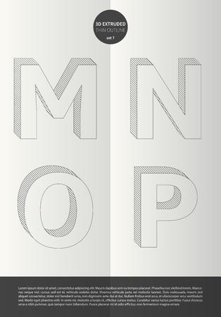 鮮やかな色とミニマルなデザイン EPS10 ベクトル セット 7 M N O P 文字セットで表記のアルファベット  イラスト・ベクター素材