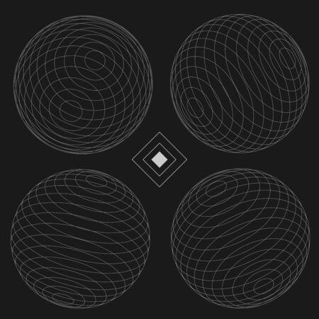 Decorative Sphere Elements Set 1 black  EPS10 Vector