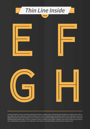 Typographic alphabet in a set with line inside and minimal design  EPS10 Vector  Set 5  E F G H letters